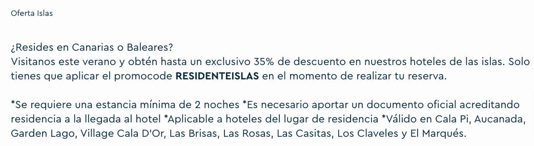 Cupón residente Islas Baleares y Canarias - Ona Hotels